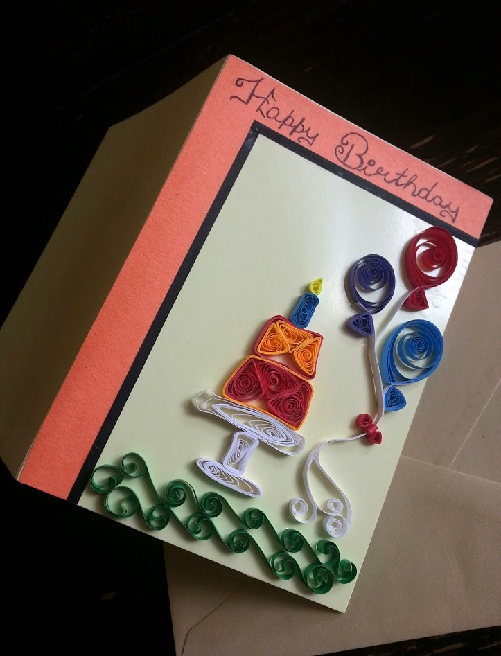 Quilled Birthday Greeting Card Handmade Personalised Birthday
